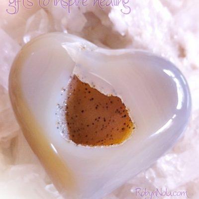 Polished Gemstone Open Heart with Druzy Quartz