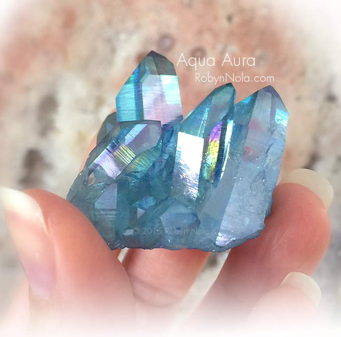 New! Aqua Aura Quartz Crystal Cluster  ff22022dbf