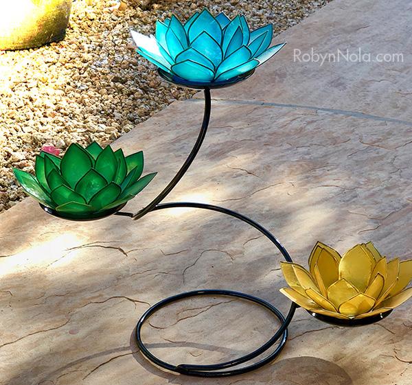 Candle holders robyn nola gifts mini chakra lotus spiral candle holder stand with 3 lotus candle holders mightylinksfo