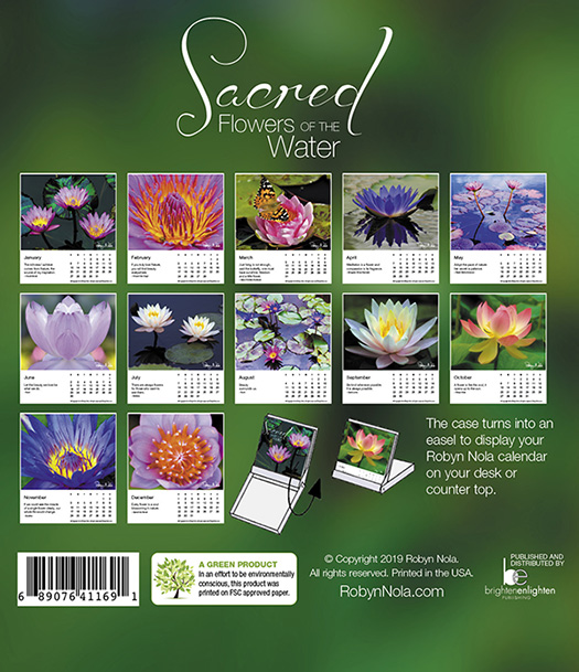 New Sacred Flowers Of The Water 2019 Desk Calendar Robyn Nola Gifts